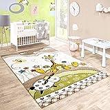 Kinderteppich Kinderzimmer Konturenschnitt Baby Giraffe Beige Creme Pastellfarben, Grösse:80x150 cm
