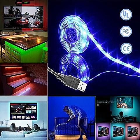 Simfonio USB LED Streifen TV Hintergrundbeleuchtung 1m 30 LEDs IP65 Wasserdicht 5050 SMD Led Strip Full Kit mit Mini Controller