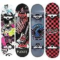 NACATIN Skateboard Komplettboard für Kinder Jungendliche und Erwachsene mit ABEC-9 Kugellager und 8-lagigem Ahornholz 92A Rollenhärte Funboard 80x20x11cm Belastung 180 KG für Anfänger und Profis