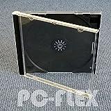 PC-Flex CD Hüllen (Jewel Case) Transparent (Tray Schwarz) für 1 CD/DVD - 100 Stück