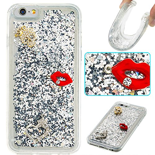 """Flüssiges Case Ultra Thin Dünn TPU Silikon Schutzhülle für iPhone 6/6s 4.7"""" 3D Kreative Liquid Handyhülle Durchsichtig Rückseite Tasche Glitter Shiny Kristall Klar Handytasche Sparkle Dynamisch Treibs B13"""