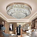 Junhong Lighting LED 3 Helligkeit Kristall Lampe Modern Golden Runde LED Deckenleuchte Schlafzimmer Lampe Restaurant Licht Luxus Atmosphäre Wohnzimmer Lampe Mit Fernbedienung (D100cm x H35cm)