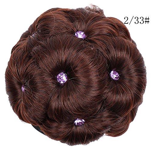 Bluestercool Mädchen Curly Bride Brötchen verziert Lila Strasssteine neun Blumen Tray Perücken