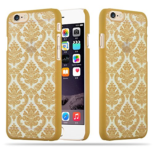 Cadorabo - Mandala Hard Cover Slim Case passend für >          Apple iPhone 6 / 6S          < Paisley Henna Hülle in TRANSPARENT mit PINK GOLD
