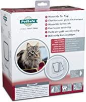 """PetSafe Microchip Cat Flap, Battery Powered Pet Door, 4-Way Locking and Easy Installation, White, """"Version 2017"""""""