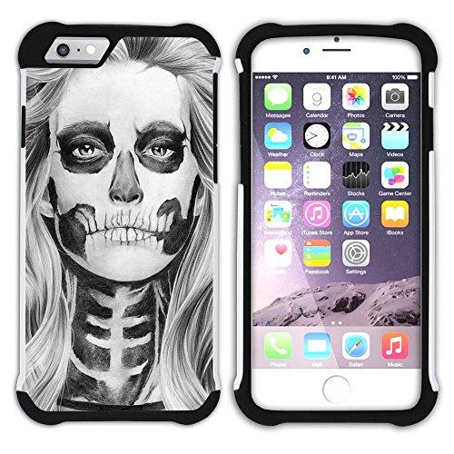 Graphic4You Skull Death Theme Muster Design Hart + Weiche Kratzfeste Hülle Case Schale Tasche Schutzhülle für Apple iPhone 6 Plus / 6S Plus Design #6