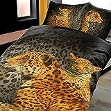 4 Teilig / 2x2 Teilige Microfaser Bettwäsche Fotodruck Garnitur Sparset Afrika Leopard Öko Tex Geprüft Leenie