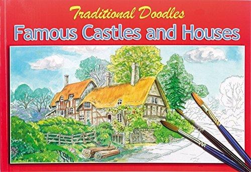 Querformat 30 x 20cm Erwachsene Traditionell Doodles Berühmten Burgen & Häuser Aquarell Malerei...