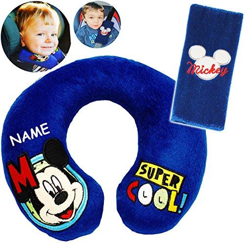 alles-meine.de GmbH 2 TLG. Set _ Nackenkissen / Nackenrolle & Gurtpolster __  Disney Mickey Mouse  - incl. Name - Kissen für Auto / Gurtschoner - Kindersitz - Reisekissen / Rei..