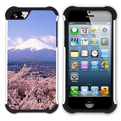 Graphic4You Japan Mountain Fields Postkarte Ansichtskarte Design Hart + Weiche Kratzfeste Hülle Case Schale Tasche Schutzhülle für Apple iPhone SE / 5 / 5S Japan #2