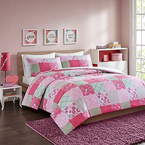 MIZONE Patchwork Love Heart Printed Duvet Cover and Pillowcase Set,