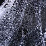 Decoraciones de Halloween Telarañas con 20 Arañas Plásticas Negras para Materiales de Fiesta de Halloween o Disfraces