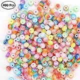 400 Stück Acryl Perlen Mehrfarbig Rund Zum Gestreiften Perlen Bastelperlen für Armbänder (6mm) (Perlen 6MM)