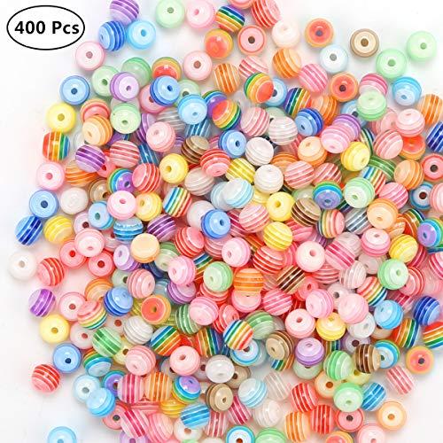 len Mehrfarbig Rund Zum Gestreiften Perlen Bastelperlen für Armbänder (6mm) (Perlen 6MM) (Perlen 6MM) (Perlen 6MM) ()