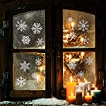 heekpek 56 Pezzi - Fiocco di Neve in Argento Scintillante con Decorazione Natalizia Vetro Specchio Finestra Decorazione della Finestra di Natale