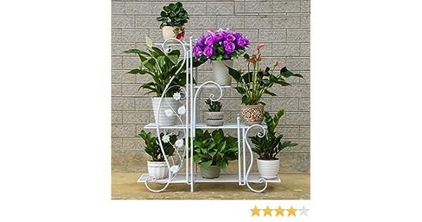 Colore : Bianca , dimensioni : M LJ Rack da fiore in ferro da stiro Indoor e Outdoor multistrato pavimento multifunzione Rattan da fioriera