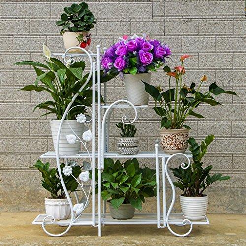 Lj rack da fiore in ferro da stiro indoor e outdoor multistrato pavimento multifunzione rattan da fioriera ( colore : bianca , dimensioni : m )