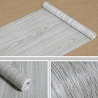 Papel de contacto adhesivo grano de madera para cubrir estantes, maletero, armarios de la cocina, encimera, pared, cuadro, puerta, escritorio (gris, 45 cm ancho x 1000 cm largo).