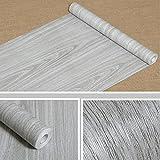 Grano de madera papel de contacto adhesivo estante maletero cubrir para gabinetes de la cocina encimera de pared cuadro puerta escritorio (gris, 17,7