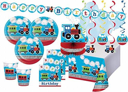 XXL 50 Teile Eisenbahn Geburtstags Party Deko Set 8 Personen (Leichte Eisenbahn-set)