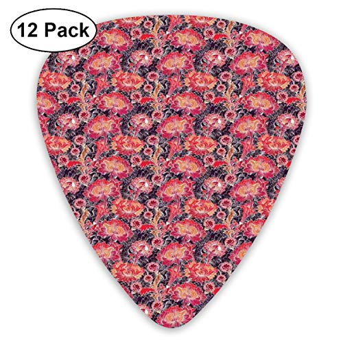 Rock Tile (Guitar Picks - Abstract Art Colorful Designs,Asian Oriental Floral Tile Traditional Flourish Ornament,Unique Guitar Gift,For Bass Electric & Acoustic Guitars-12 Pack)
