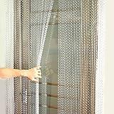 Cortina para Divisor Puertas o Ventanas para Protectora contra Insectos, Moscas, Panel Cortina Cadena para Decoración de Fiesta (Plata)