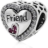 """Charm dell'amicizia a forma di cuore in argento Sterling 925, con la scritta in lingua inglese """"Friend"""", per braccialetti Pan"""