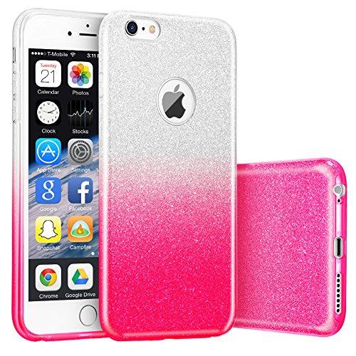 iphone 6S Hülle,Hanlesi Shiny Gradient Serie [Bling Kristallklar] Cover, Ultra Slim Sparkle Premium 3 Layer Hybrid Transparente Schutzhülle für Apple iPhone 6, 6S 4,7 inch transparent rot
