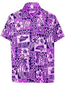 *La Leela* Rilassata Pulsante Casual Fit Aloha Hawaiano Uomini Giù Viola Camicia Hawaiana