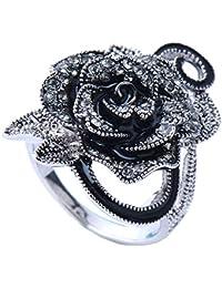 SailvanIn Women Rings Flower Ring Wedding Rings Gothic Vintage Rings Big Rose Flower Ring