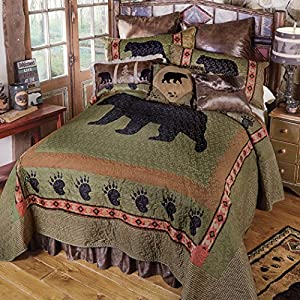 3pc Lodge Bear Paw Quilt Set