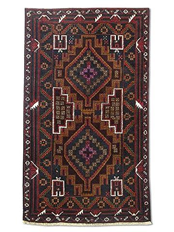 Handgeknüpfter Baluchi Teppich, Schwarz, Wolle, 85 X 147 cm