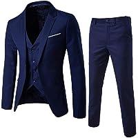 SUCES Herren Anzug,Schmale Blazer Business Hochzeit Party Smoking Sakko Jacke + Weste + Hose Männer Klassisch Charmant Set Modern Cool Mantel