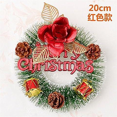 Xmas decorativi artificiali?Ghirlanda di Natale Natale aghi di pino Rattan anello alfabeto ornamenti cards-Ornamenti natale rosso 20cm