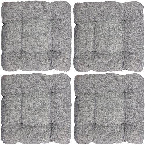 4er Set proheim Outdoor Stuhl-Kissen 40 x 40 x 8 cm wasserabweisendes Sitz-Kissen mit Fleckenschutz stark gepolstertes Weichstuhl-Kissen für Indoor und Outdoor, Farbe:Grau Outdoor Stuhl Kissen