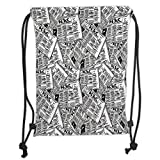 TARzz Drawstring Backpacks Bags,Old Newspaper Decor,Hand Drawn Newspapers Pattern Publication Journalism Events,Black White Silver Soft Satin,5 Liter Capacity,Adjustable String Closure,T