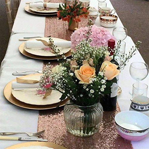 TRLYC 32cmx300cm Hochzeit Pailletten Tischläufer 13
