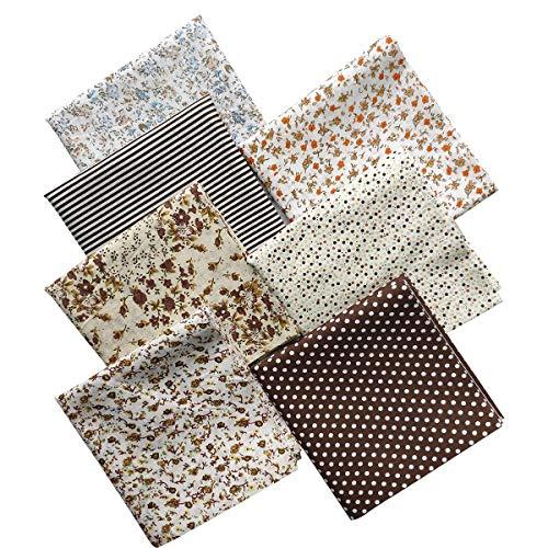 b5ad0050b31132 YXJD 7Pcs Baumwollstoff Patchwork Stoffe DIY Gewebe Quadrate Baumwolltuch  Stoffpaket zum Nähen mit vielfältiges Muster 50x50cm (Kaffee)
