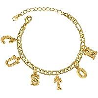 GoldChic Jewellery Braccialetti con ciondoli a Forma di Lettera con Gioielli in Oro per Donna, Bracciale a Catena in…