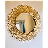 Furnish Craft Steel Glass Wall Mirror (35 x 35 inch, Gold)