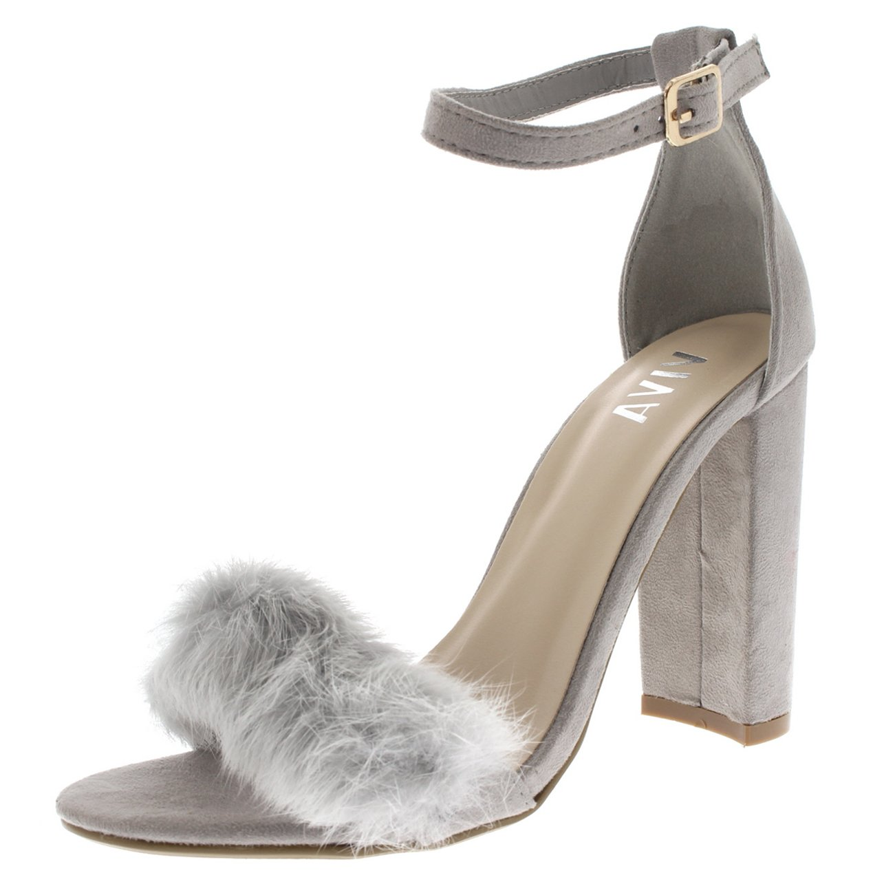 936e705b4777 Grey Women  Evening Block Heel Fashion Sandal Party Fluffy High Heels Size 5