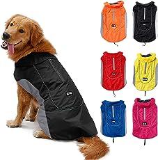 TFENG Reflektierend Hundejacke für Hunde, Wasserdicht Hundemantel Warm Gepolstert Puffer Weste Welpen Regenmantel mit Fleece, Größe XS Bis 3XL