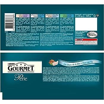 Gourmet Perle Les Duos de la Mer - 4 x 85 g - Sachets Fraîcheur pour Chat Adulte - Lot de 12