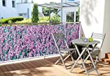 WOHNWOHL® Balkonumspannung Balkonbespannung Sichtschutz Windschutz 90x500cm, Design Lavendel