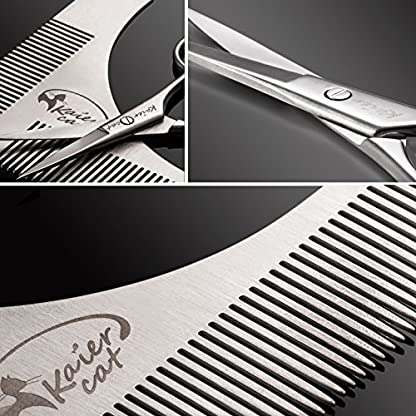 Kaiercat® Stainless Steel Beard Shaping Tool and Scissors Kit for Beard Trimming and Grooming, Gifts for Father's Day… 3