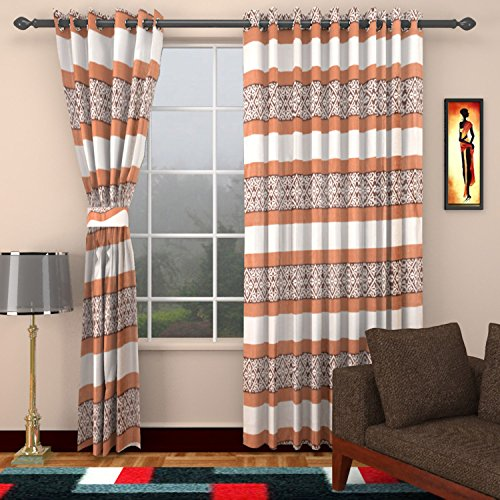 Ajay Furnishings 3 Piece Polyester Stripe Window Curtain - 5 ft, Brown