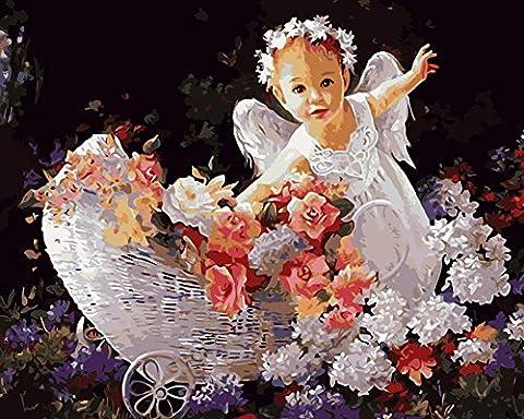 DIY Peinture par nombre Kits Little Angel Girl avec White Wing 16x20 pouces Image Unique Gift For Child , Frameless , 40*50cm