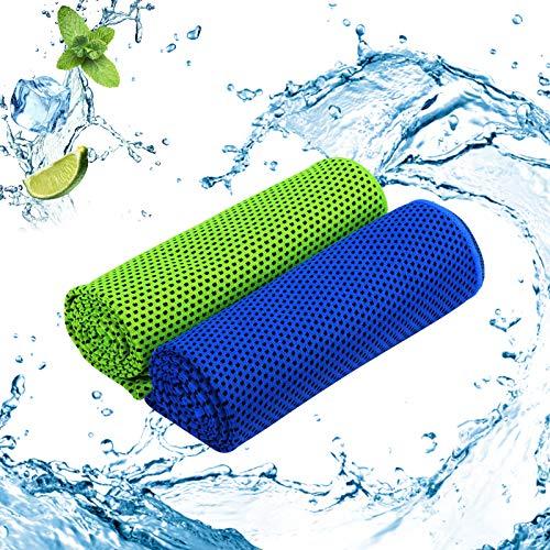 ZERHOK 2Stk Kühlendes Handtuch Mikrofaser Kühltücher Bequemes Sporthandtuch Funktionstücher für Herren Angeln Laufen Yoga Golf Fitness(blau und grün