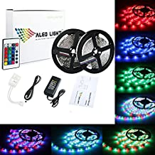 ALED LIGHT®2 x 5 metros (10 m en total) 3528 SMD 600 LED RGB luces de tira, cinta tira LED flexible con el regulador IR Colores adaptador de la fuente de alimentación 6A 24 Key. Decorativas LED Franja de fiesta, , exposición de la