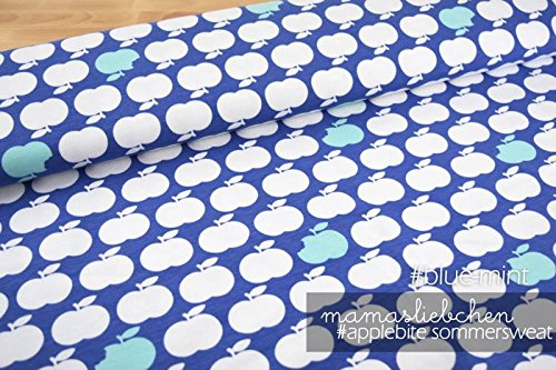Mamasliebchen Sweat-Stoff Meterware apple bite #blue - mint (0,5 m x 1,5 m) -